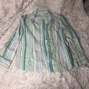 Petite Striped Button Up Top!